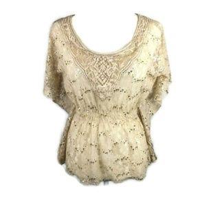 HeartSoul Size M Floral Lace Gold Sequins Elastic